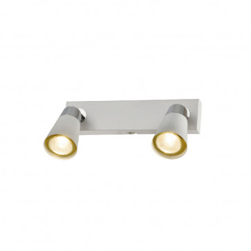 Spot metal base cuadrada blanco 2 luces GU10