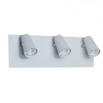 Spot tipo riel de 3 luces con base, DINA, color blanco